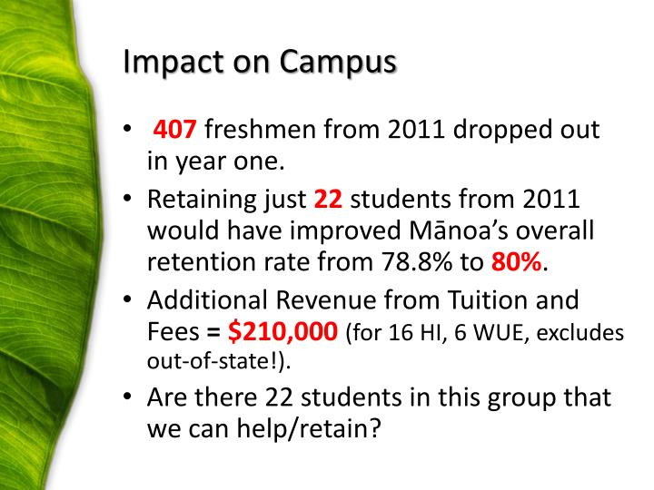 Impact on Campus