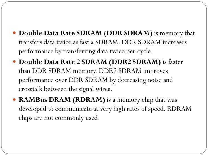 Double Data Rate SDRAM (DDR SDRAM)