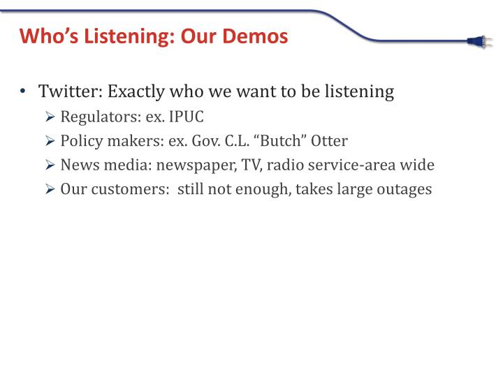 Who's Listening: Our Demos