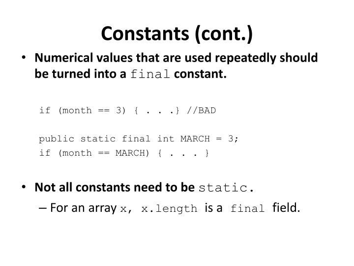 Constants (cont.)