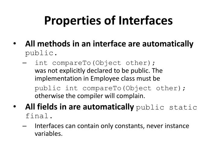 Properties of Interfaces