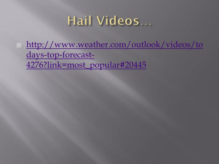 Hail Videos…