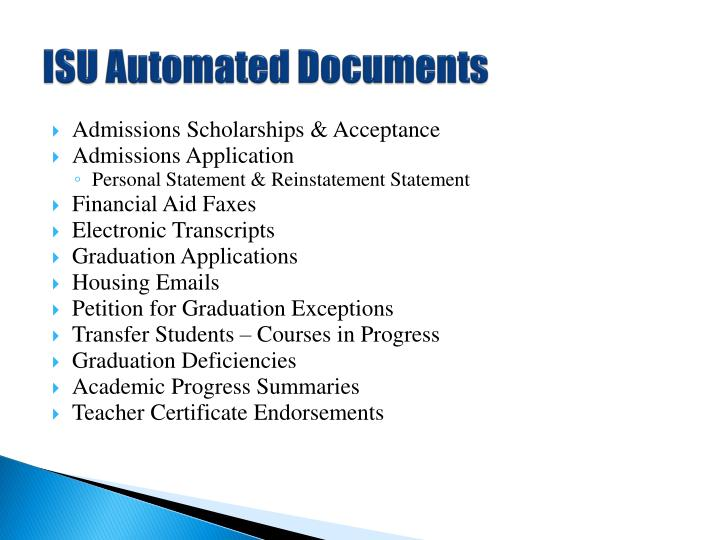 ISU Automated Documents
