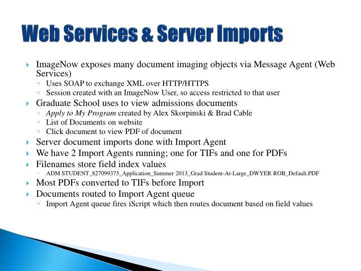 Web Services & Server Imports