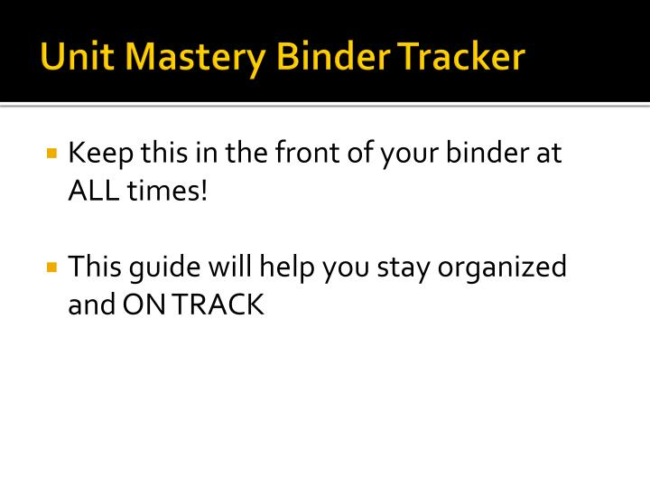 Unit Mastery Binder Tracker