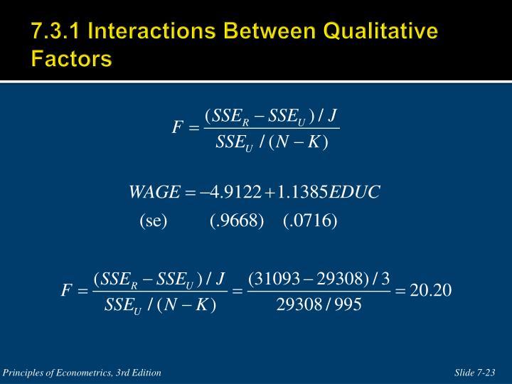 7.3.1 Interactions Between Qualitative Factors