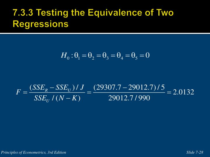 7.3.3 Testing the Equivalence of Two Regressions