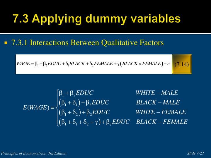 7.3 Applying dummy variables