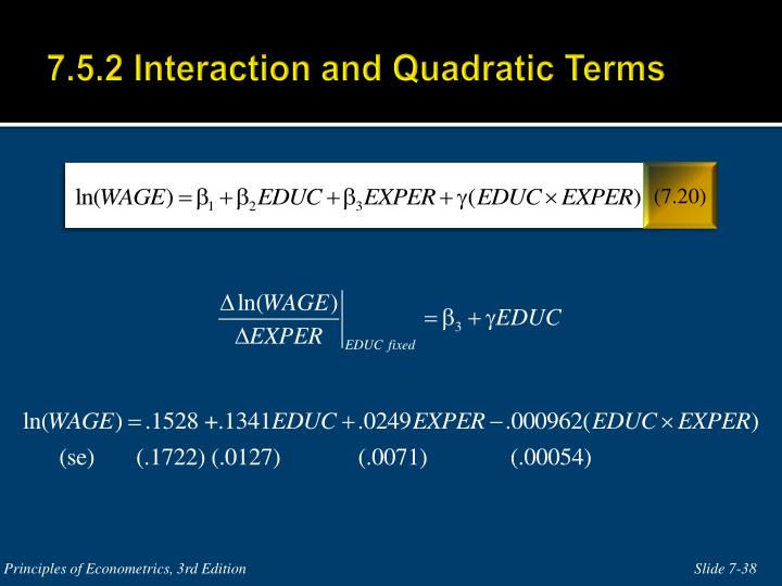 7.5.2 Interaction and Quadratic Terms