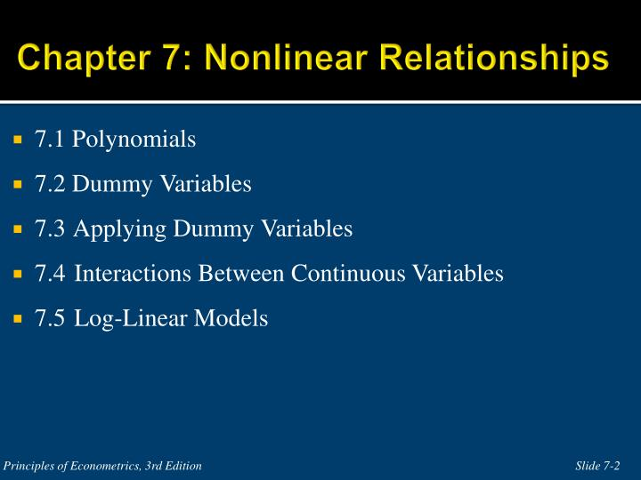 Chapter 7: Nonlinear Relationships
