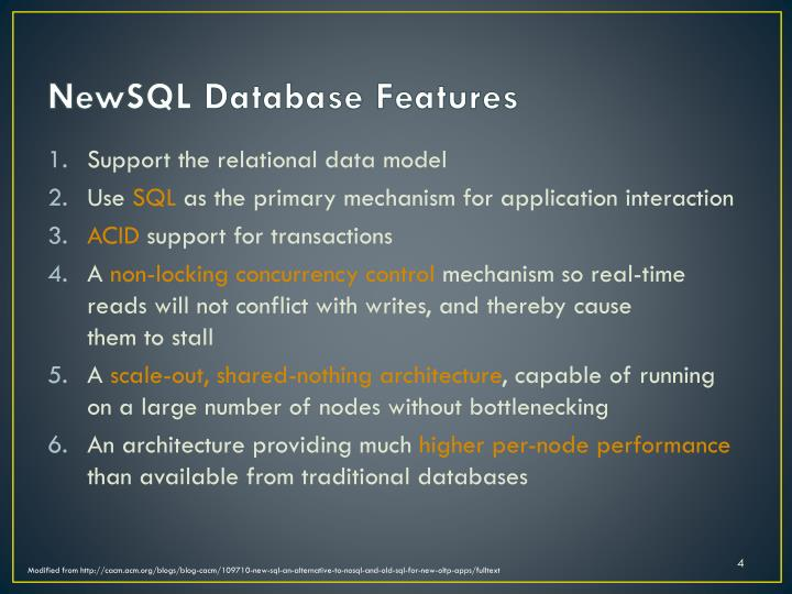 NewSQL Database Features
