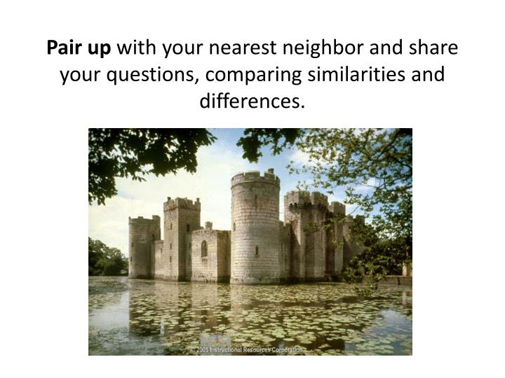 Pair up with your nearest neighbor and share your questions comparing similarities and differences
