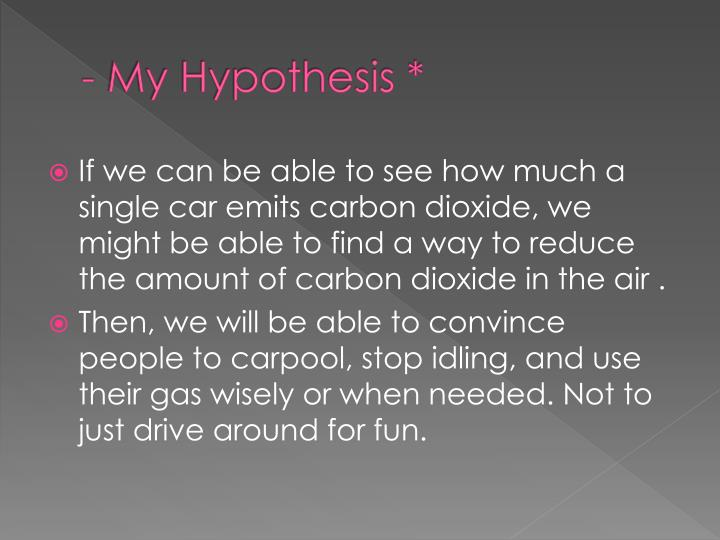 - My Hypothesis *