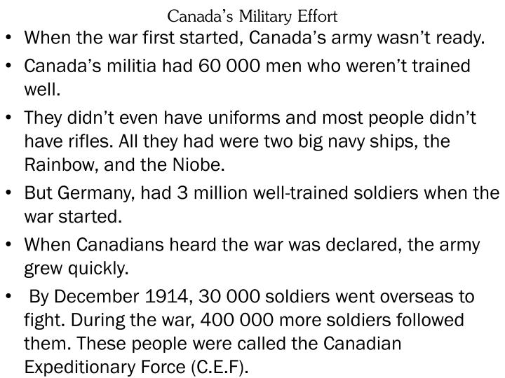 Canada's Military Effort