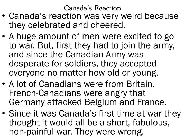 Canada's Reaction