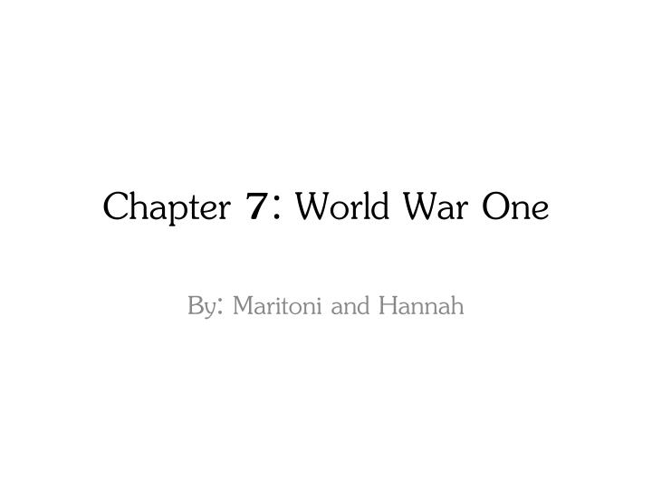 Chapter 7: World
