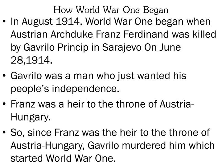 How world war one began