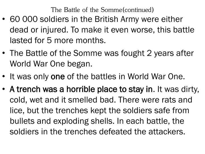 The Battle of the Somme(continued)