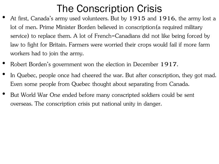 The Conscription Crisis