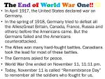 the end of w o r l d war one