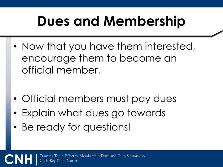 Dues and Membership