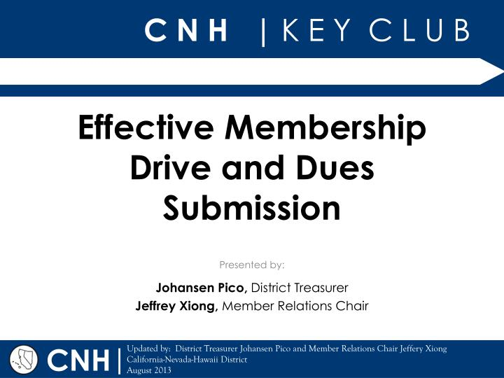Effective membership drive and dues submission
