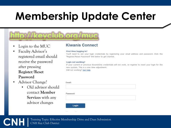 Membership Update Center