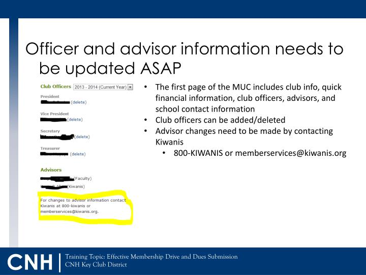 Officer and advisor information needs to be updated ASAP