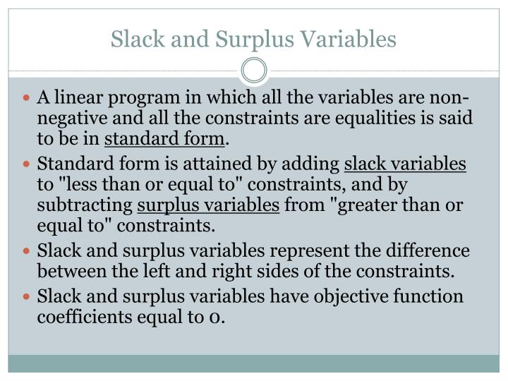 Slack and Surplus Variables