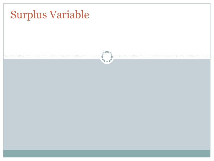 Surplus Variable