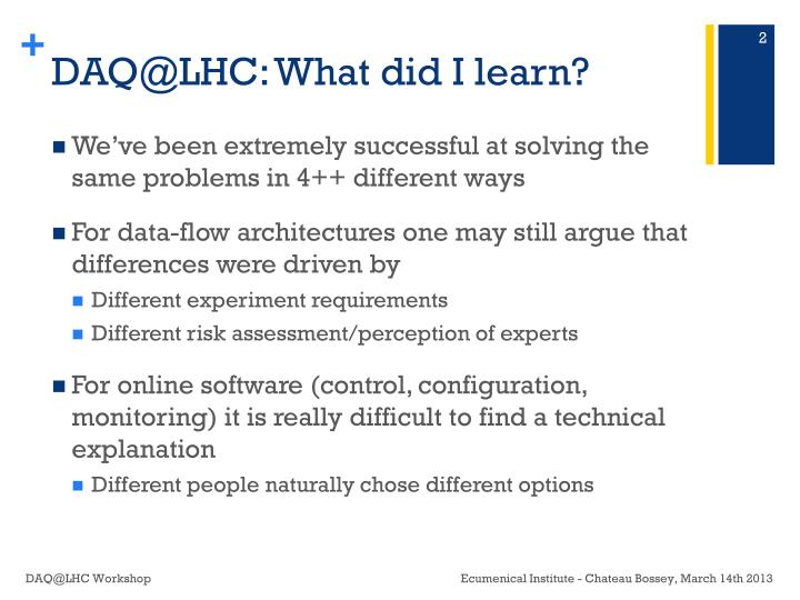 DAQ@LHC: What did I learn?