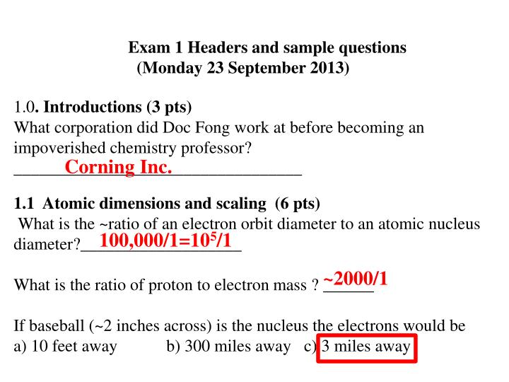 Exam 1 Headers and sample questions