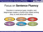 focus on sentence fluency