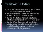 conditions in policy