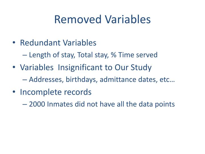Removed Variables