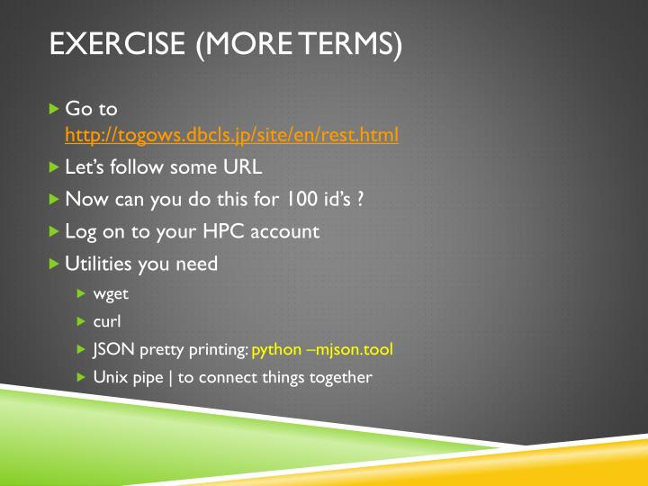 Exercise (more terms)
