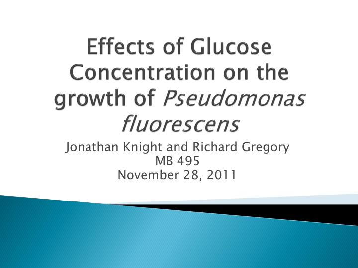E ffects of glucose concentration on the growth of pseudomonas fluorescens