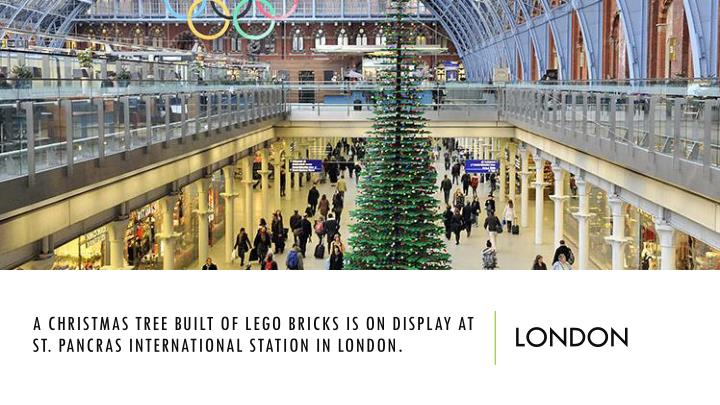 A Christmas tree built of Lego bricks is on display at St.