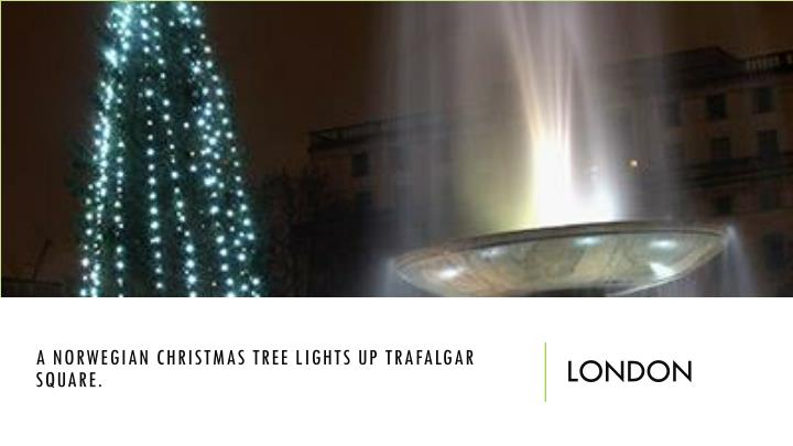 A Norwegian Christmas tree lights up Trafalgar Square.