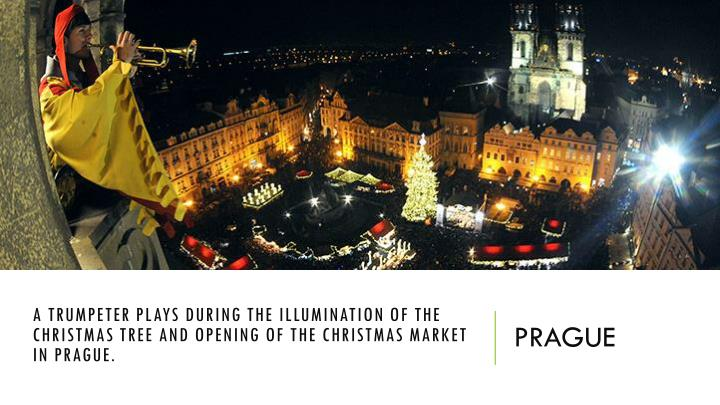 A trumpeter plays during the illumination of the Christmas tree and opening of the Christmas market in Prague.