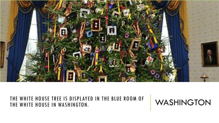 The White House tree is displayed in the Blue Room of the White House in Washington.