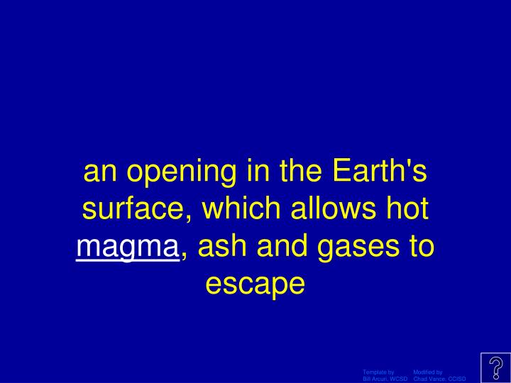 an opening in the Earth's surface, which allows hot