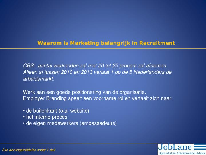 Waarom is Marketing belangrijk in Recruitment