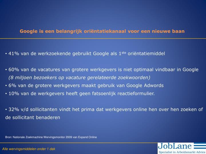 Google is een belangrijk oriëntatiekanaal voor een nieuwe baan