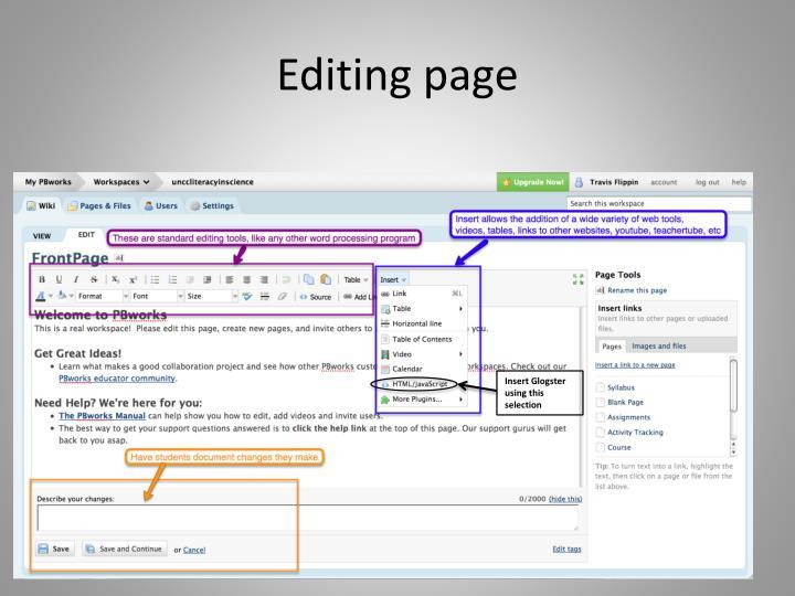Editing page