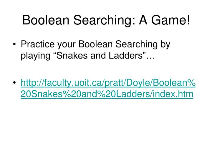 Boolean Searching: A Game!