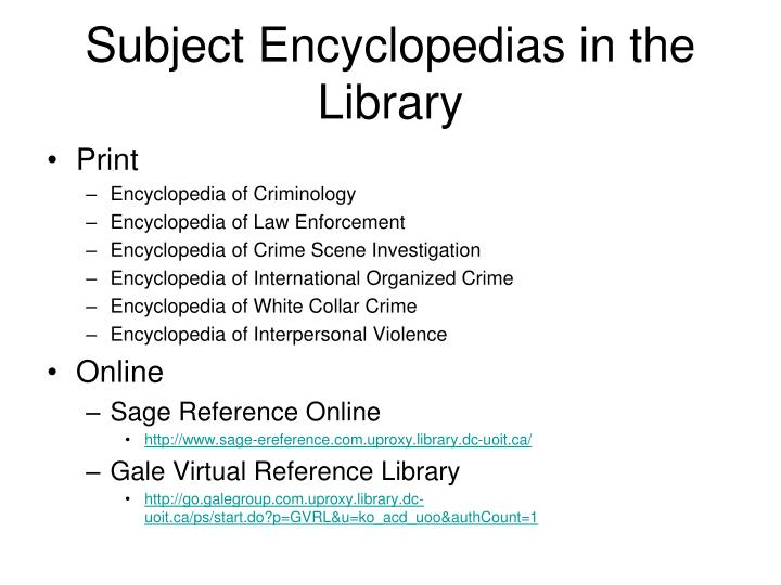 Subject Encyclopedias in the Library