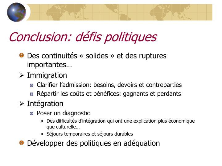 Conclusion: défis politiques