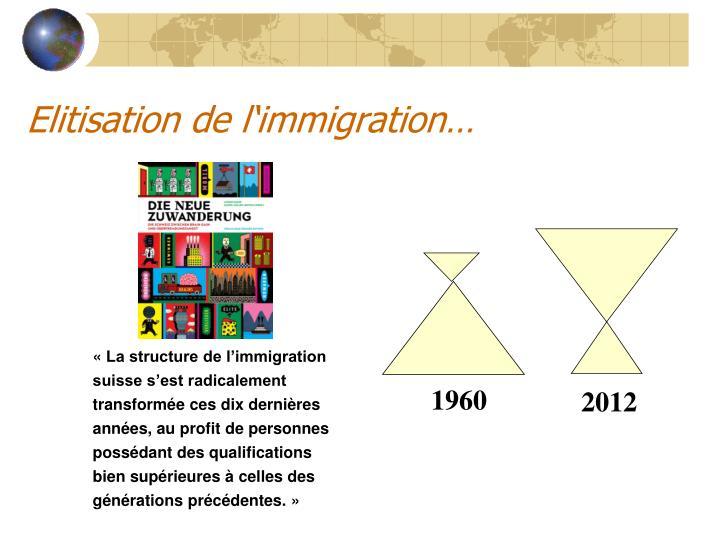 Elitisation de l'immigration…