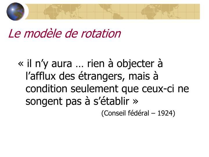 Le modèle de rotation